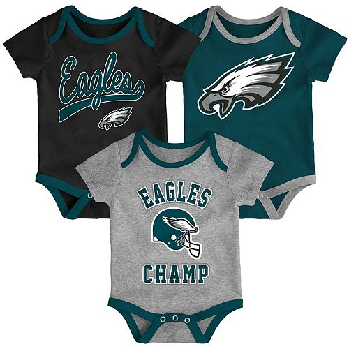 Infant Black/Midnight Green/Heathered Gray Philadelphia Eagles Champ 3-Piece Bodysuit Set
