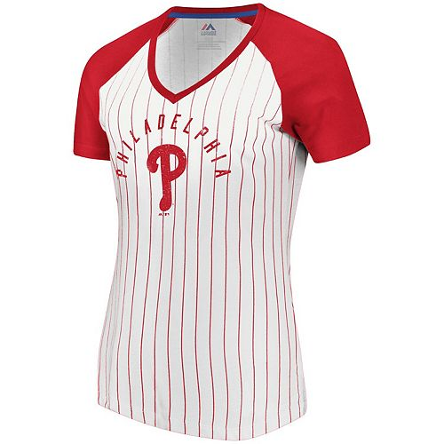 Women's Fanatics Branded White/Red Philadelphia Phillies Paid Our Dues V-Neck T-Shirt