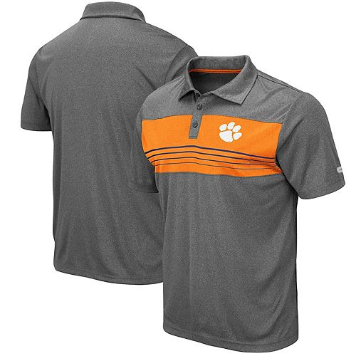 Men's Colosseum Heathered Charcoal Clemson Tigers Smithers Polo
