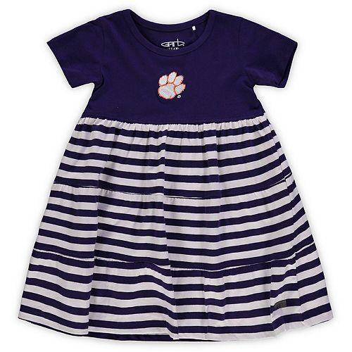 Girls Toddler Garb Purple Clemson Tigers Lizia Stripe Dress