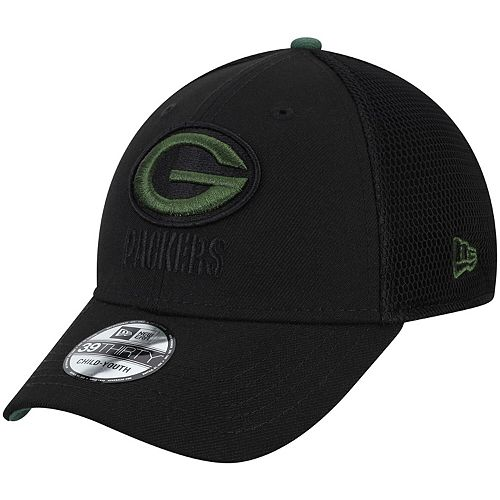 Youth New Era Black Green Bay Packers Two-Tone Sided 39THIRTY Flex Hat