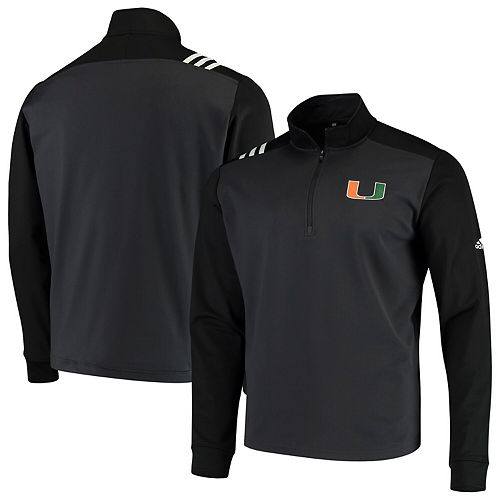 Miami Hurricanes adidas College Three-Stripe Quarter-Zip Jacket  Anthracite