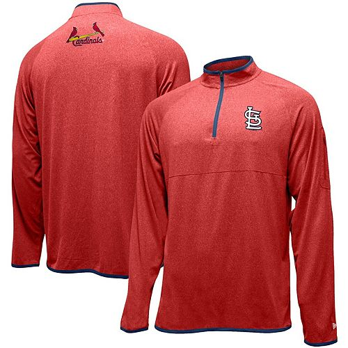 Men's New Era Red St. Louis Cardinals Brushed Jersey Raglan Quarter-Zip Pullover Jacket