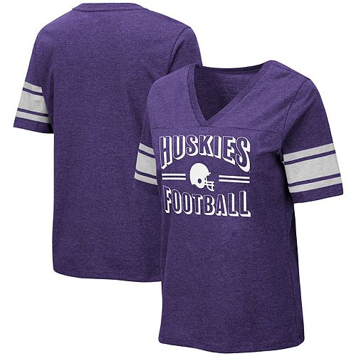 Women's Colosseum Heathered Purple Washington Huskies Blue Blood Football V-Neck T-Shirt