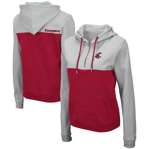Women's Colosseum Gray Washington State Cougars Aidan Half-Zip Pullover Hoodie