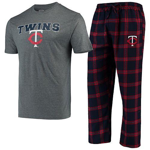 Men's Concepts Sport Navy/Red Minnesota Twins Troupe T-Shirt & Pants Sleep Set
