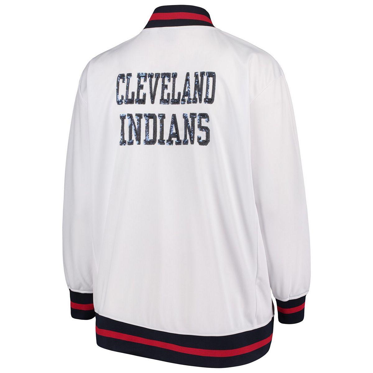 Women's Majestic White Cleveland Indians Plus Size Full Zip Track Jacket lDwRX