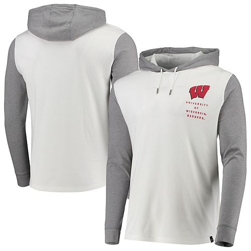 Men's Under Armour White/Heathered Gray Wisconsin Badgers Waffle Pullover Hoodie
