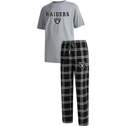 Men's Concepts Sport Black/Heathered Gray Oakland Raiders Big & Tall Troupe T-Shirt & Pants Sleep Set