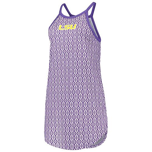 Women's Purple LSU Tigers High Neck Ringer Pattern Dress