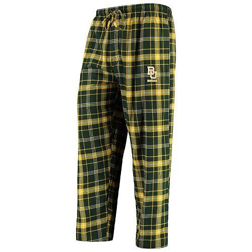 Men's Concepts Sport Green/Gold Baylor Bears College Ultimate Flannel Pants