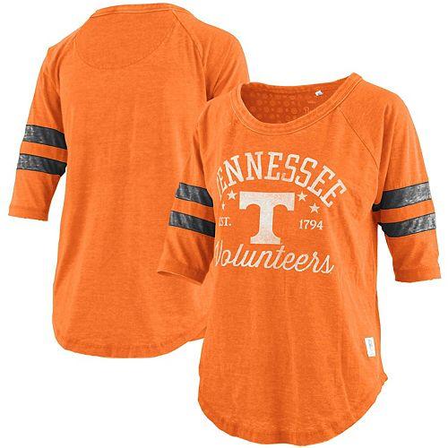 Women's Pressbox Tennessee Orange Tennessee Volunteers Plus Size Jade Vintage Washed 3/4-Sleeve Jersey T-Shirt