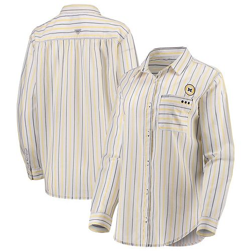 Michigan Wolverines Columbia Women's Sun Drifter Vertical Stripe Button-Down Shirt - White