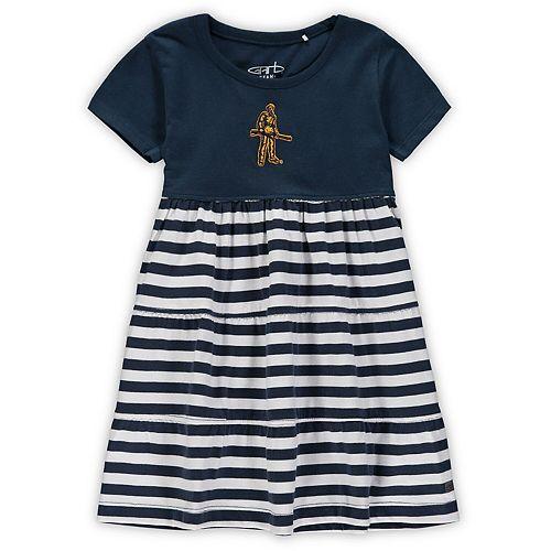 Girls Toddler Garb Navy West Virginia Mountaineers Lizia Stripe Dress