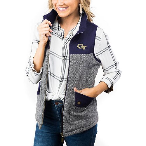 Women's Navy Georgia Tech Yellow Jackets Prep For It Herringbone Knit Full-Zip Vest