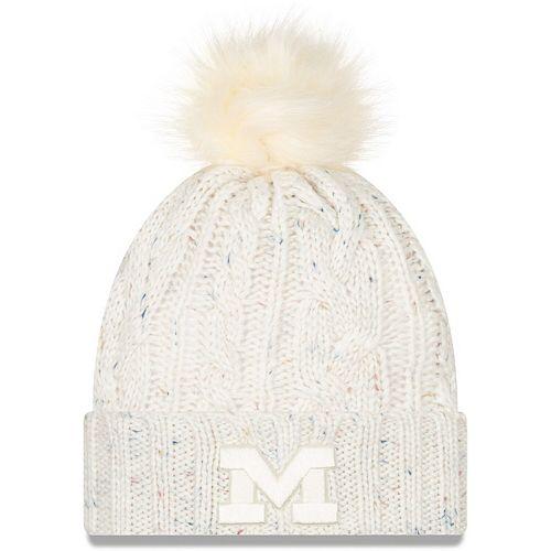 Women's New Era White Michigan Wolverines Fuzzy Cuffed Knit Hat with Pom