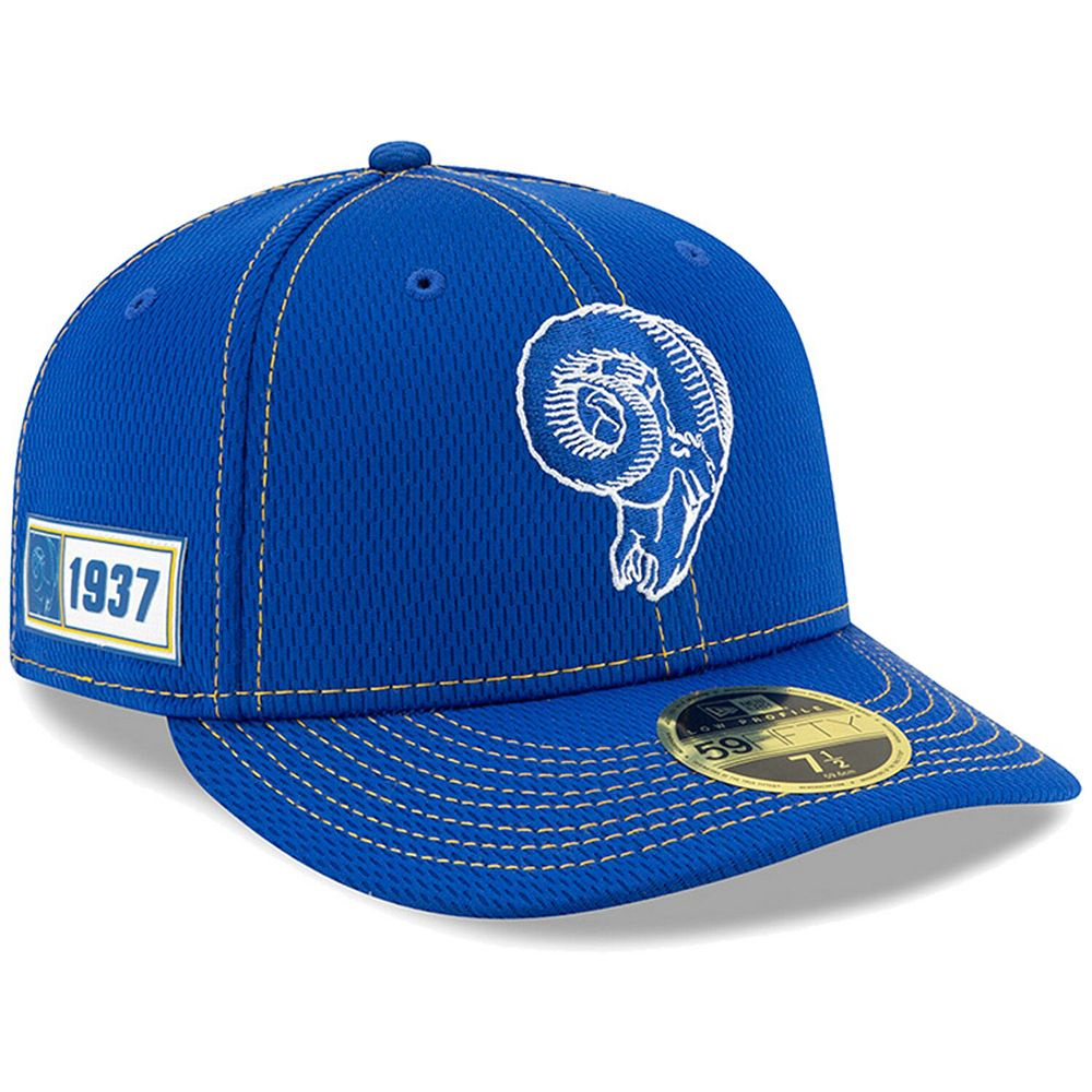 Men's New Era Royal Los Angeles Rams 2019 NFL Sideline Road Official Skull Logo Low Profile 59FIFTY Fitted Hat