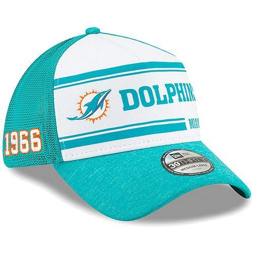 Men's New Era White/Aqua Miami Dolphins 2019 NFL Sideline Home Official 39THIRTY 1970s Flex Hat