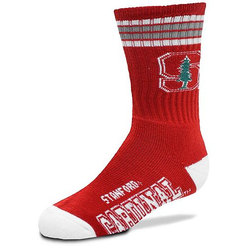 Youth For Bare Feet Stanford Cardinal 4-Stripe Deuce Crew Socks