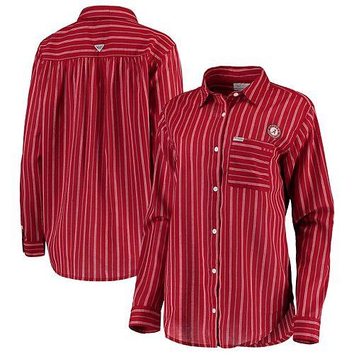 Alabama Crimson Tide Columbia Women's Sun Drifter Vertical Stripe Button-Down Shirt - Crimson