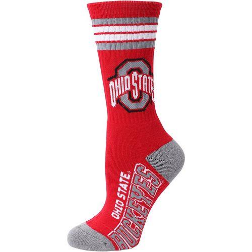 Women's For Bare Feet Ohio State Buckeyes Four Stripe Socks