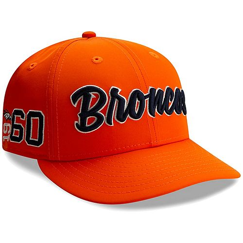 Men's New Era Orange Denver Broncos 2019 NFL Sideline Home Official Low Profile 59FIFTY 1960s Fitted Hat