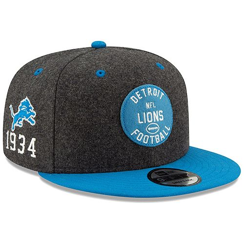 Men's New Era Heather Charcoal/Blue Detroit Lions 2019 NFL Sideline Home Official 9FIFTY 1930s Snapback Adjustable Hat
