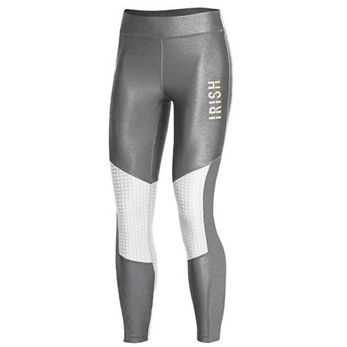 Women's Under Armour Gray Notre Dame Fighting Irish Perforated Pocket Crop Performance Leggings
