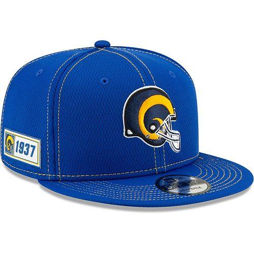 Men's New Era Royal Los Angeles Rams 2019 NFL Sideline Road Official Helmet Logo 9FIFTY Snapback Adjustable Hat