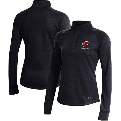 Women's Under Armour Black Wisconsin Badgers Double-Knit Jersey Quarter-Snap Pullover Jacket