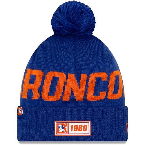 Men's New Era Royal Denver Broncos 2019 NFL Sideline Road Reverse Sport Knit Hat