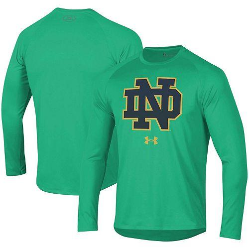 Men's Under Armour Kelly Green Notre Dame Fighting Irish School Logo Tech 2.0 Performance Long Sleeve T-Shirt
