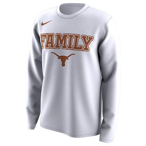 Men's Nike White Texas Longhorns March Madness Family on Court Legend Basketball Performance Long Sleeve T-Shirt