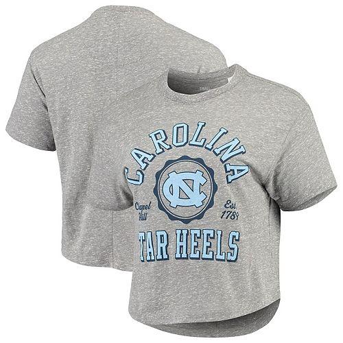 Women's Pressbox Gray North Carolina Tar Heels Bishop Tri-Blend Knobi Crop T-Shirt