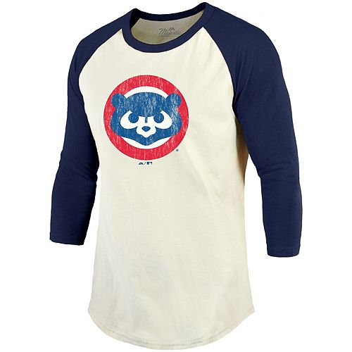 Men's Majestic Threads Cream/Navy Chicago Cubs Cooperstown Collection Raglan 3/4-Sleeve T-Shirt
