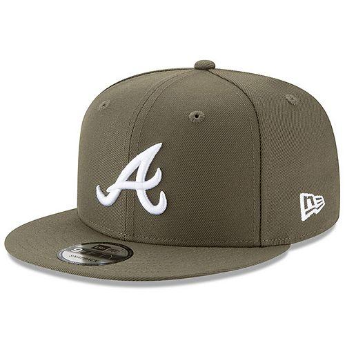 Men's New Era Olive Atlanta Braves Basic 9FIFTY Adjustable Snapback Hat