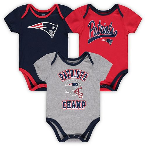 Infant Navy/Red/Heathered Gray New England Patriots Champ 3-Piece Bodysuit Set