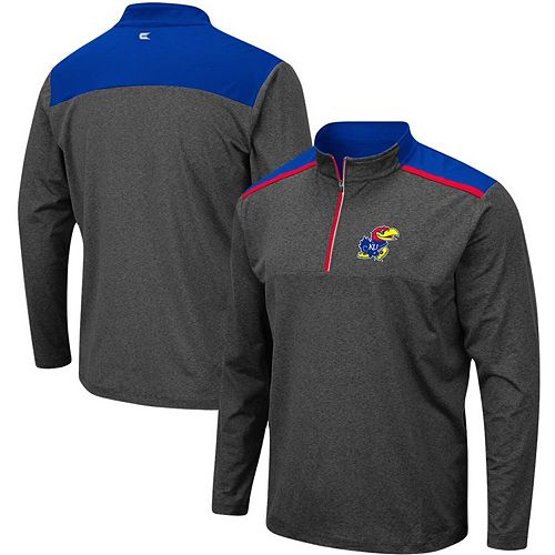 Men's Colosseum Heathered Charcoal Kansas Jayhawks Big & Tall Snowball Quarter-Zip Pullover Jacket