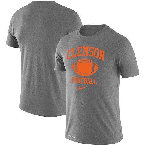Men's Nike Heathered Gray Clemson Tigers Retro Football Lockup Legend Performance T-Shirt