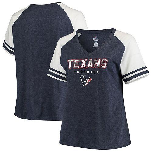 Women's Heathered Navy/White Houston Texans Plus Size Contrast Raglan V-Neck T-Shirt
