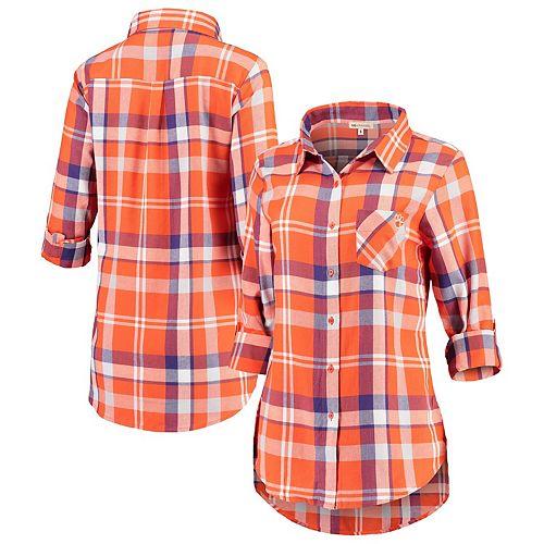 Women's Orange Clemson Tigers Missy Boyfriend Plaid Flannel Button-Up Long Sleeve Shirt