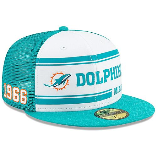 Men's New Era White/Aqua Miami Dolphins 2019 NFL Sideline Home Official 59FIFTY 1970s Fitted Hat