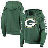 Women's New Era Green Green Bay Packers Touchdown Fleece Pullover Hoodie