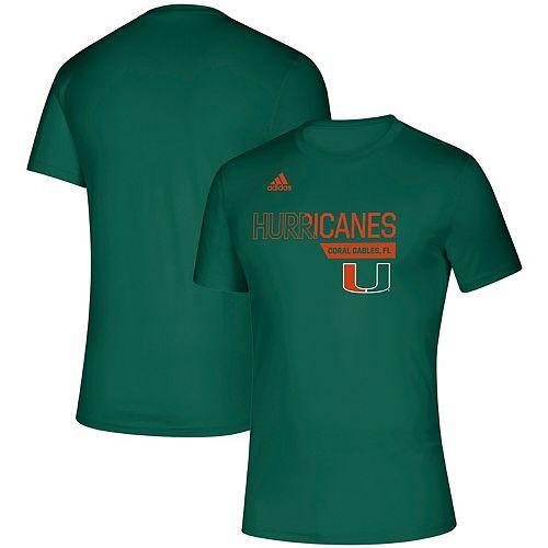Men's adidas Green Miami Hurricanes Sideline Locker Division Creator climalite T-Shirt