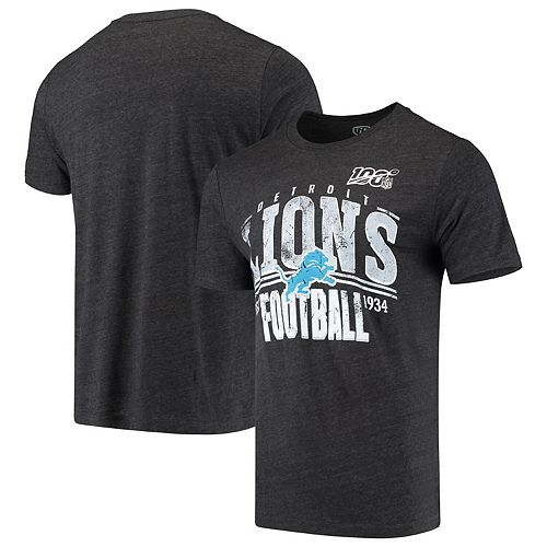 Men's Black Detroit Lions 100th Season Championship Tri-Blend T-Shirt