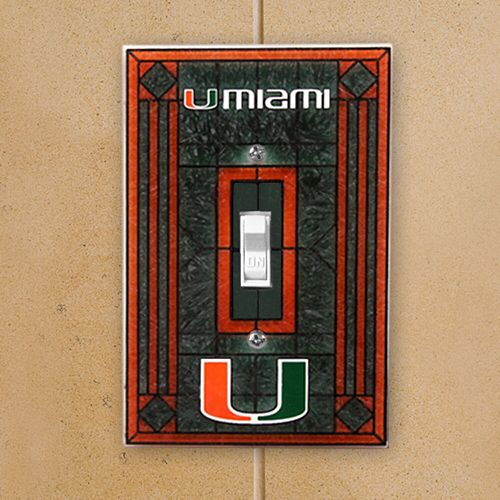 Miami Hurricanes Art-Glass Switch Plate Cover