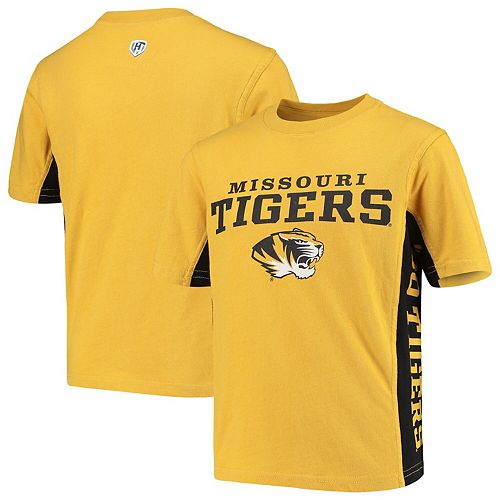Youth Hands High Gold/Black Missouri Tigers Side Bar T-Shirt