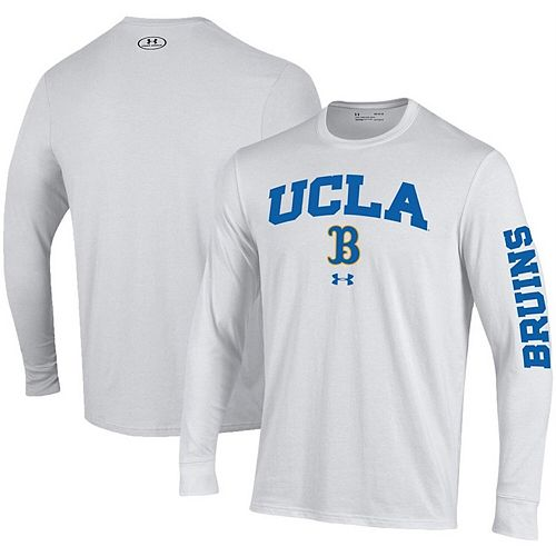 Men's Under Armour White UCLA Bruins Arched Two-Hit Performance Long Sleeve T-Shirt