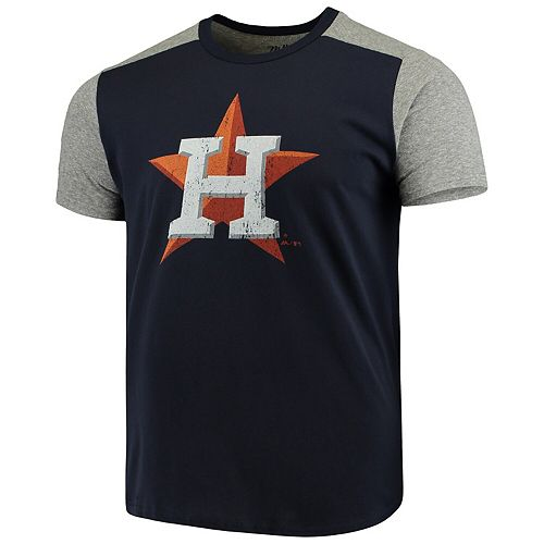 Men's Majestic Threads Navy/Gray Houston Astros Color Blocked T-Shirt