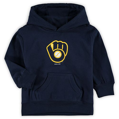 Toddler Navy Milwaukee Brewers Primary Logo Fleece Pullover Hoodie
